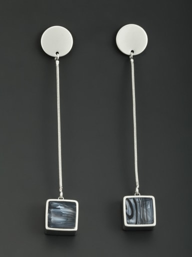 New design Platinum Plated Square Drop drop Earring With Acrylic