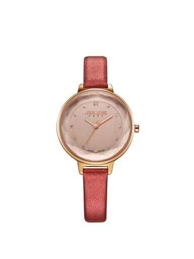 Model No 1000003252 24-27.5mm size Alloy Round style Genuine Leather Women's Watch