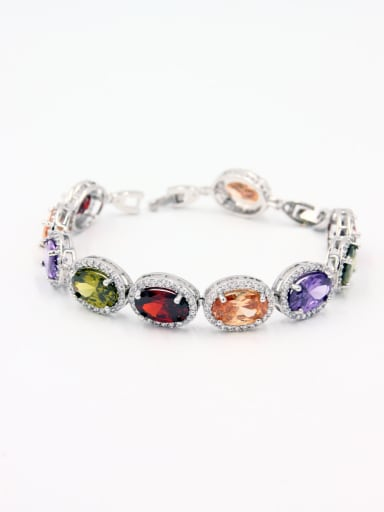 Model No A000424H-002 style with Platinum Plated Copper Zircon Bracelet