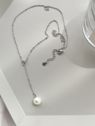 New design Silver chain Pearl Necklac in Silver color