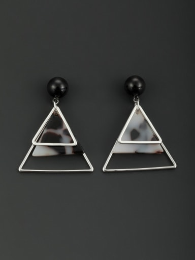 Model No L0608036-002 Blacksmith Made Platinum Plated Acrylic Round Drop drop Earring