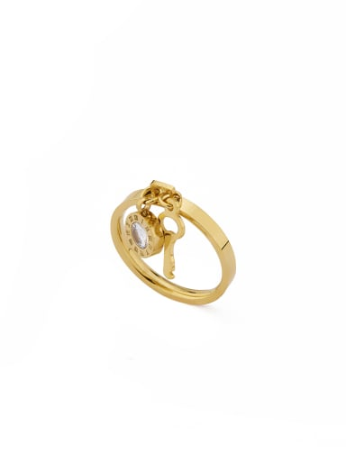 Gold Plated Stainless steel Locket Rhinestone Band band ring