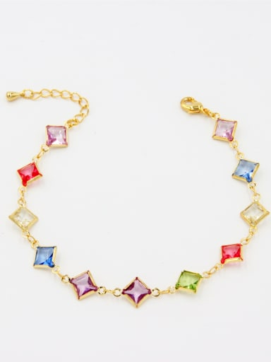 Multi-Color color Gold Plated Square Zircon Bracelet