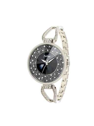 Model No A000469W-001 Fashion White Alloy Japanese Quartz Round Alloy Women's Watch 24-27.5mm