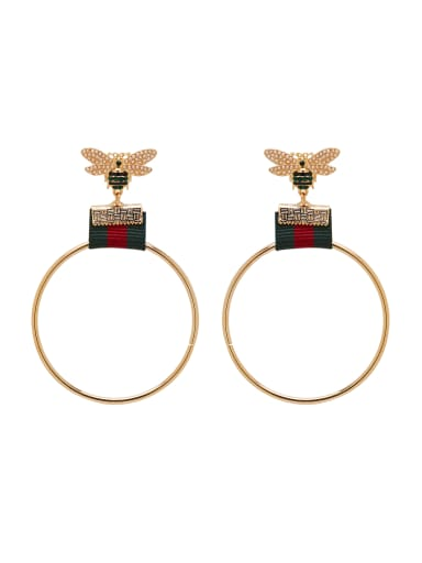 Personalized Gold Plated Zinc Alloy Gold Round Drop hoop Earring