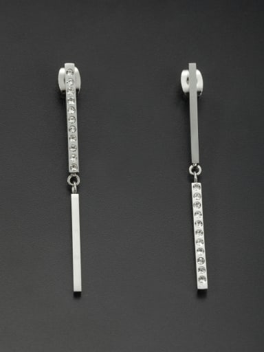 White chain Drop threader Earring with Stainless steel Rhinestone