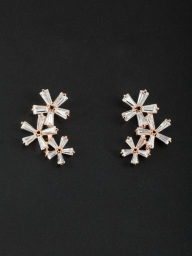 Blacksmith Made Rose Plated Zircon Flower Studs stud Earring