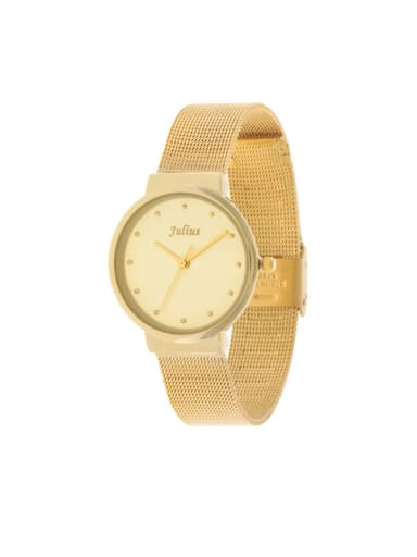 Fashion Yellow Gold Alloy Japanese Quartz Round Alloy Women's Watch 28-31.5mm