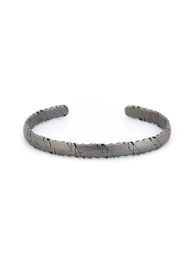 New design Silver-Plated Titanium Fringe Bangle in Silver color