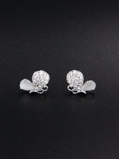 Fashion Platinum Plated Butterfly Drop drop Earring