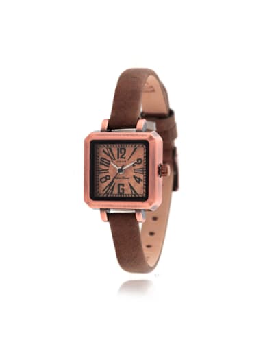 Model No 1000003328 Fashion Wine Alloy Japanese Quartz Square Genuine Leather Women's Watch 24-27.5mm