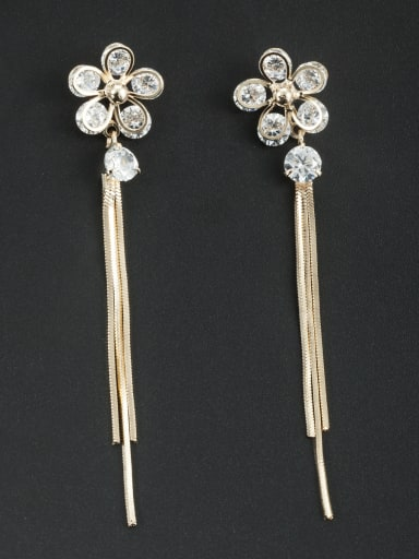 White color Gold Plated Flower Zircon Drop drop Earring