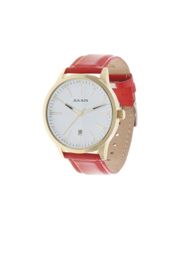 Model No A000452W-003 Fashion Red Alloy Japanese Quartz Round Genuine Leather Women's Watch 40-43.5mm