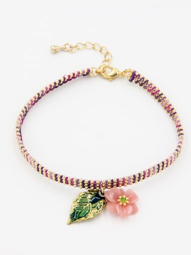 Multi-Color Flower Youself ! Gold Plated Diamond  Bracelet