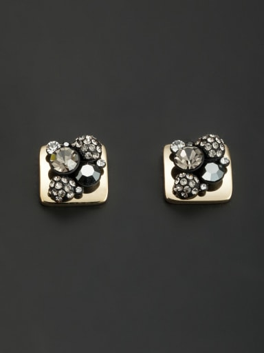 Square style with Gold Plated Rhinestone Studs stud Earring