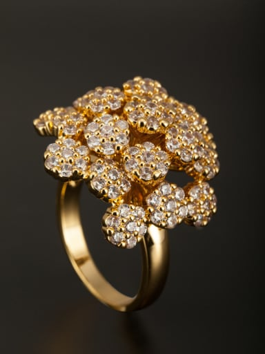 Flower Gold Plated Copper Zircon White Ring