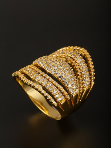 Model No 1000002990 Personalized Gold Plated Copper White Zircon Ring