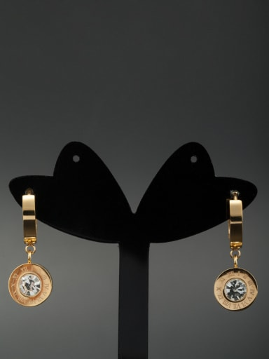 Stainless steel Round Rhinestone Gold Drop drop Earring