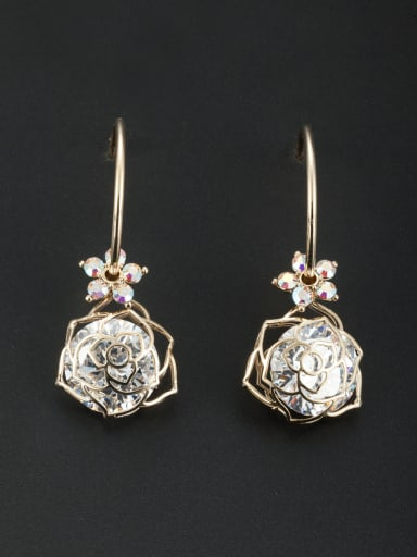 Model No OYA946342B New design Gold Plated Round Zircon Drop drop Earring in White color