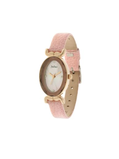Fashion Pink Alloy Japanese Quartz Oval Genuine Leather Women's Watch 23.5mm & Under