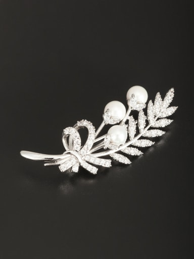 White color Platinum Plated Round Pearl Lapel Pins & Brooche