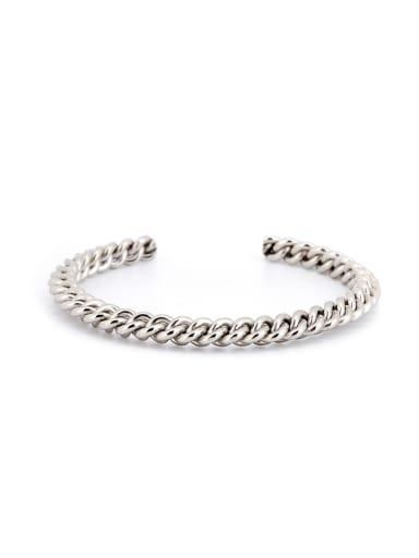 Fashion Silver-Plated Titanium Fringe Bangle