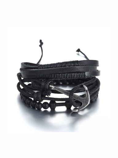 Model No A000068H Black Charm Bracelet with Beads