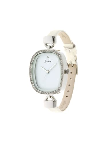 Model No 1000003258 Fashion White Alloy Japanese Quartz Square Genuine Leather Women's Watch 24-27.5mm