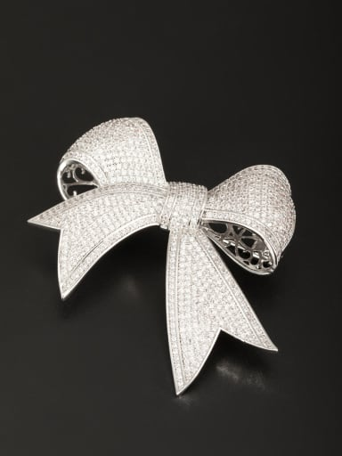 Platinum Plated  White Zircon Beautiful Lapel Pins & Brooche