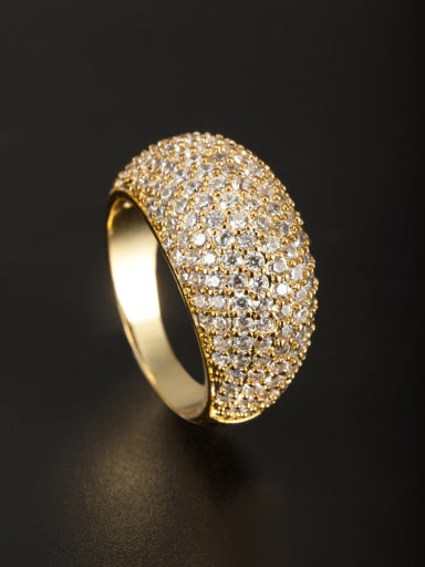 Gold Plated Copper Zircon White Ring 6#-9#