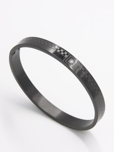 Mother's Initial Black Bangle with  Zircon   63MMX55MM