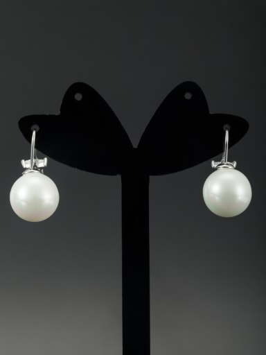 Model No LYE334362B Round Platinum Plated Pearl White Drop drop Earring