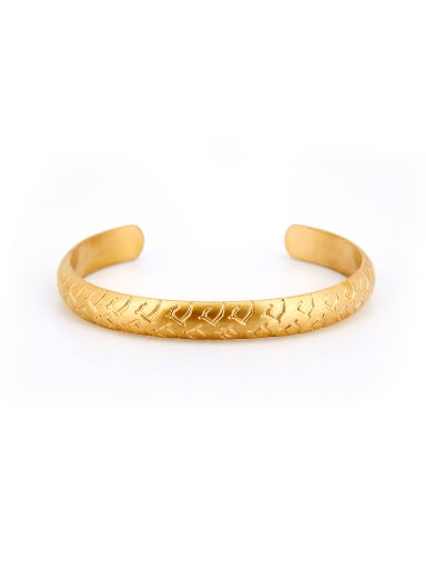 New design Gold Plated Titanium Fringe Bangle in Gold color