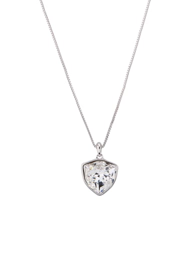 White Heart Youself ! Platinum Plated Zinc Alloy Swarovski Crystals Necklac