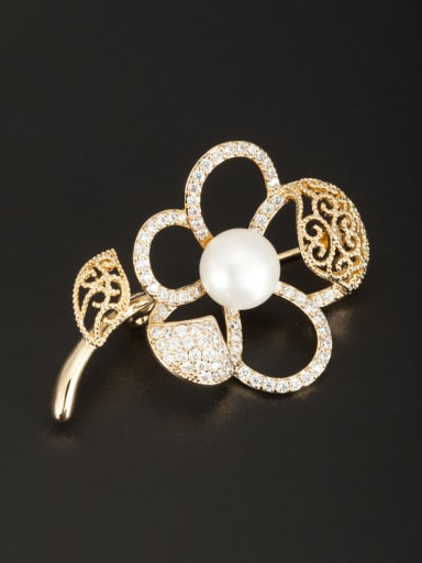 Flower Gold Plated Pearl White Lapel Pins & Brooche