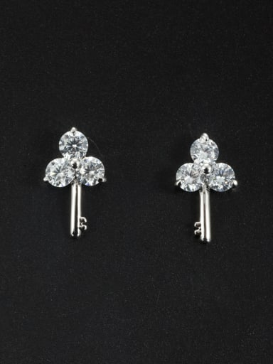Model No LYE172062B Mother's Initial White Studs stud Earring with Zircon