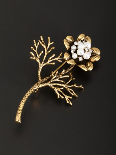 Personalized Gold Plated White Flower Pearl Lapel Pins & Brooche