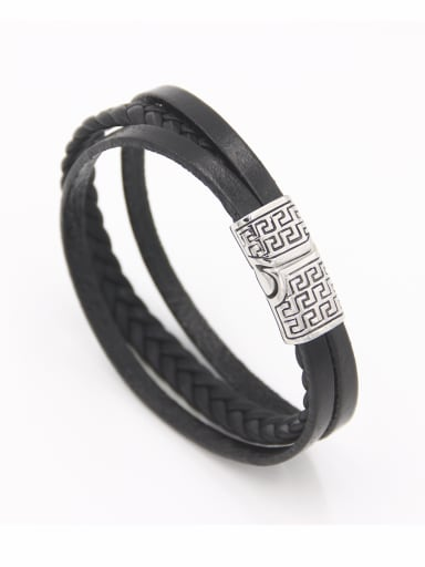 Black Fringe Bracelet with Stainless steel