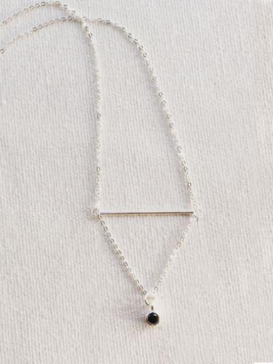 color 925 silver Geometric Rhinestone Necklace