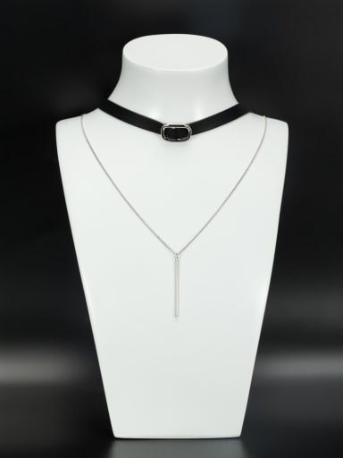 Personalized Platinum Plated Black chain Zircon Choker