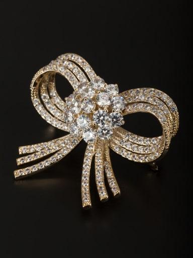 Model No 5003899-002 Gold Plated Copper Zircon White Lapel Pins & Brooche