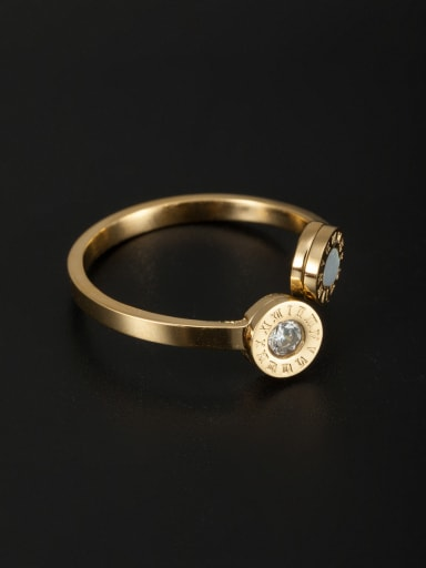 New design Stainless steel Rhinestone Ring in Gold color 6-8#