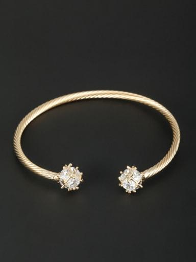 Gold Plated Zircon White Bangle