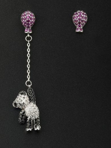 Animal Motif Platinum Plated Zircon Fuchsia Drop drop Earring