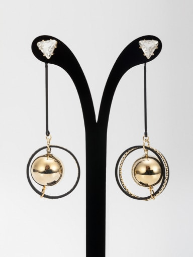 Gold Plated  White Zircon Ball In the Middle  Drop drop Earring