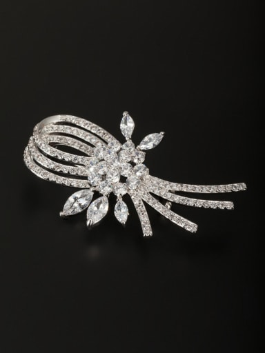 style with Platinum Plated Copper Zircon Lapel Pins & Brooche