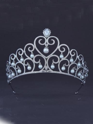 Fashion Platinum Plated Heart Wedding Crown