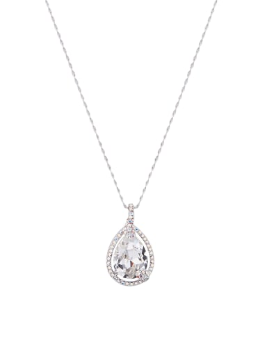 The new Platinum Plated Zinc Alloy Swarovski Crystals chain necklace with White