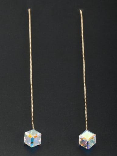 Personalized Gold Plated Silver Square Swarovski Crystals Drop drop Earring