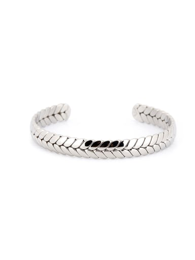 Model No 1000003527 Custom Silver Personalized Bangle with Silver-Plated Titanium
